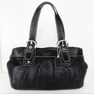 Coach Soho Black Leather Pleated Business Tote